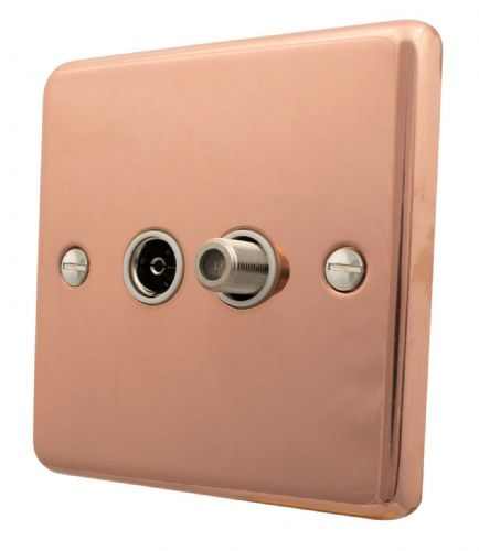 G&H CBC38W Standard Plate Bright Copper 1 Gang TV Coax & Satellite Socket Point